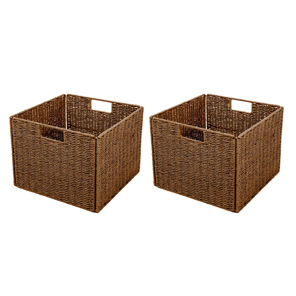 Trademark Innovations 13 in. x 10 in. Foldable Storage Basket with Iron Wire Frame  sc 1 st  Home Depot : storage baskets with labels  - Aquiesqueretaro.Com