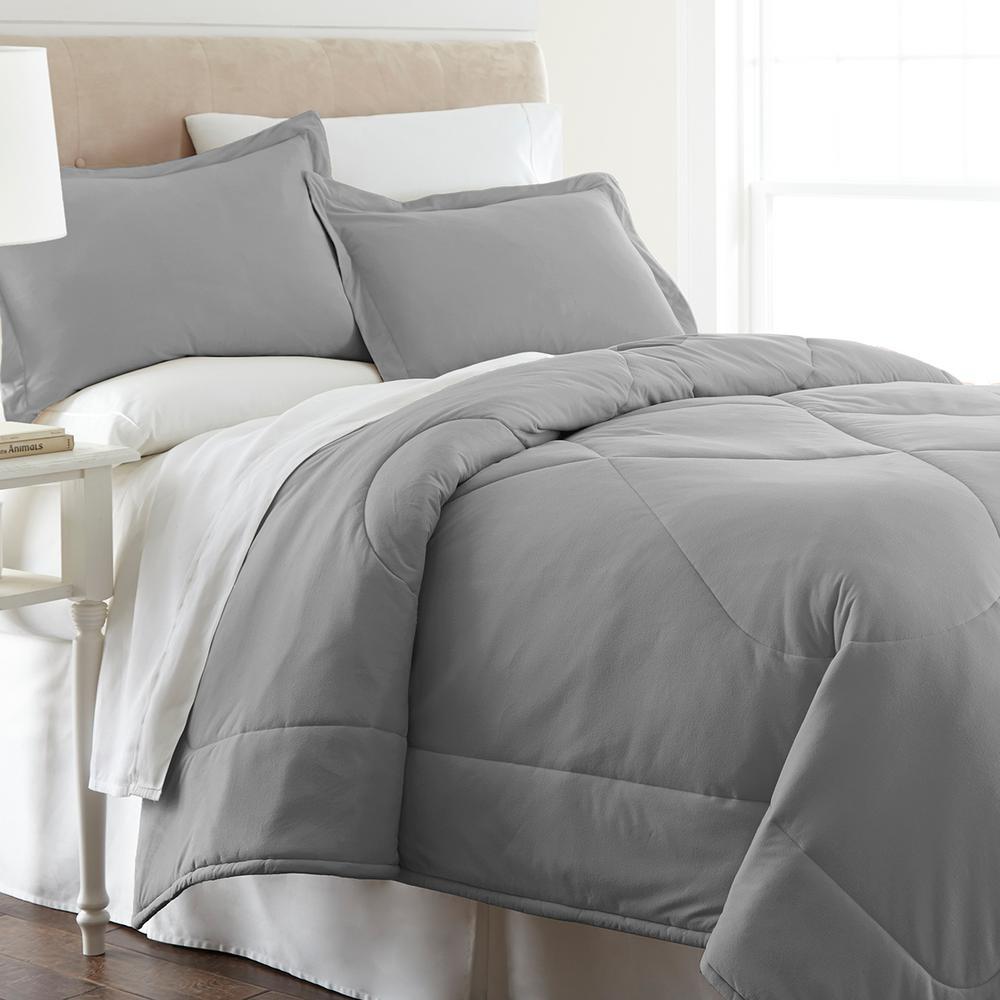 Micro Flannel Greystone Full Queen 4 Piece Comforter Set