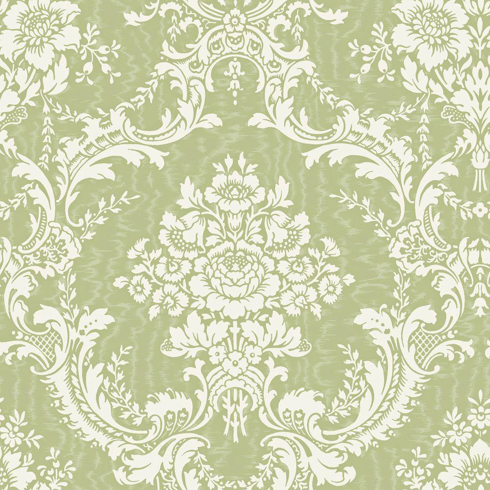 The Wallpaper Company 56 sq. ft. Green Large Contemporary Damask Wallpaper