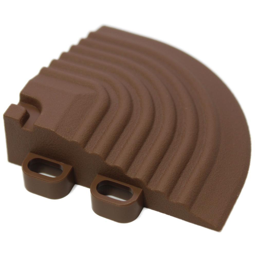 2.5 in. x 2.5 in. Walnut Brown Corner Edging for 15.75 in. Swisstrax Modular Tile Flooring (2-Pack)