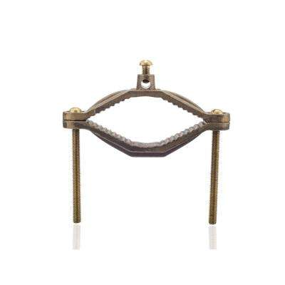 2-1/2 in. - 4 in. Water Pipe Size Bronze Ground Clamp with Brass Screws, 2 STR Ground Wire Max