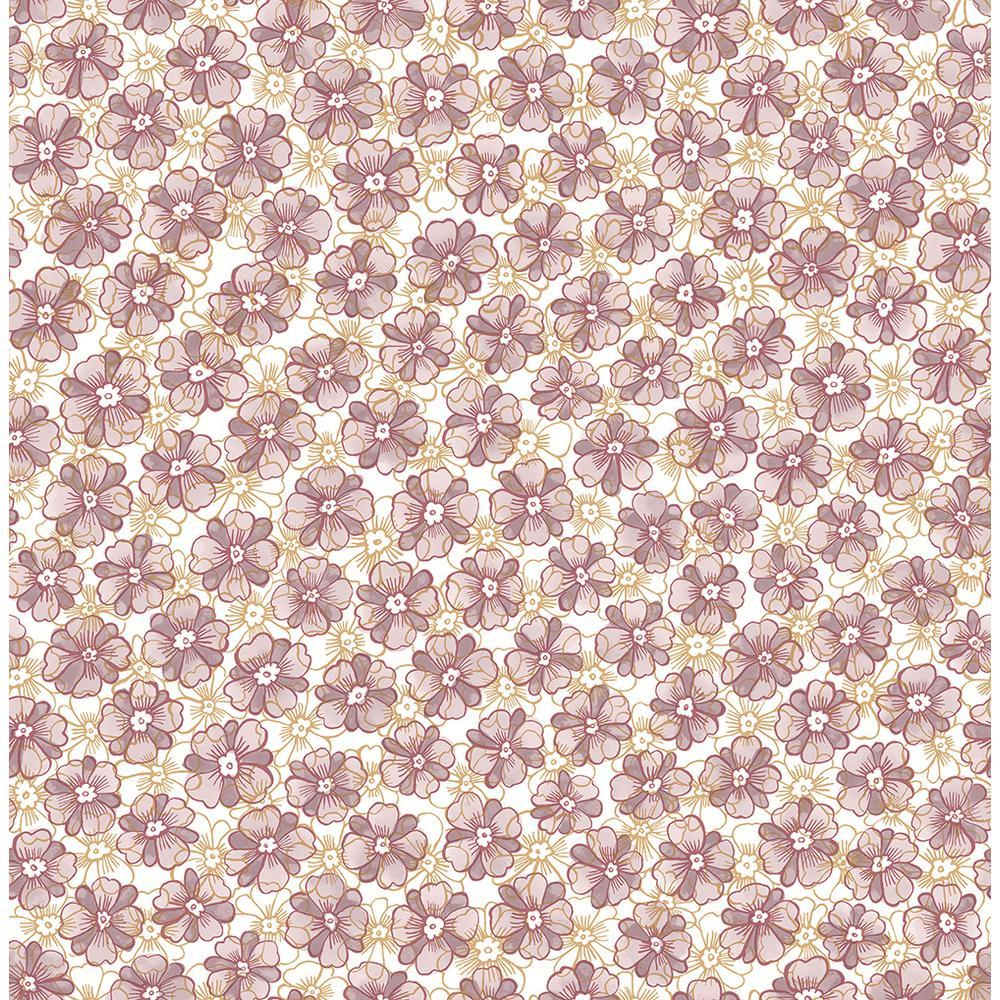 A-Street Allison Lavender Floral Wallpaper Sample 2657-22226SAM