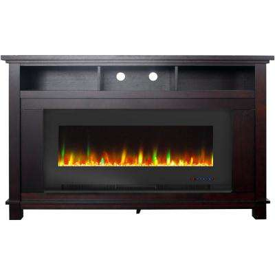 "San Jose 58 in. Freestanding Electric Fireplace Entertainment Stand in Mahogany with 50"" Insert and Crystal Rock Display"