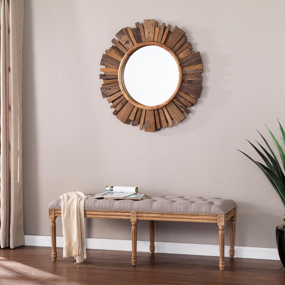 Claredale Natural Finish Reclaimed Wood Sunburst Wall Mirror