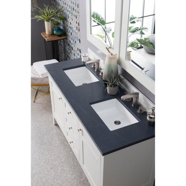 Palisades 60 in. Double Vanity in Bright White with Quartz Vanity Top in Charcoal Soapstone with White Basin