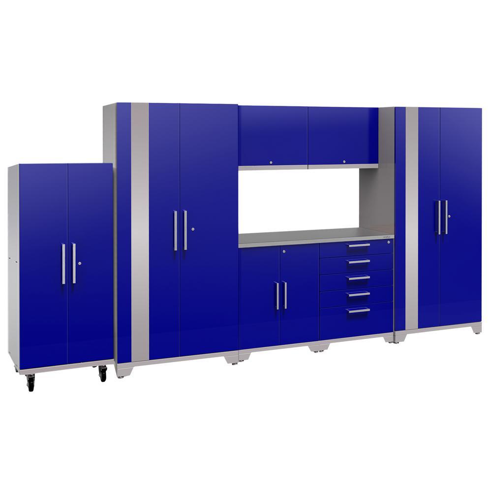 Performance Plus 2.0 80 in. H x 156 in. W x 24 in. D Steel Garage Cabinet Set in Blue (8-Piece)