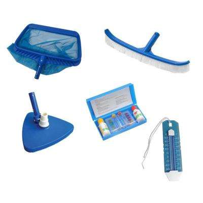 Deluxe Swimming Pool Kit - Vacuum Leaf Rake Brush Thermometer and Test Kit (5-Piece)