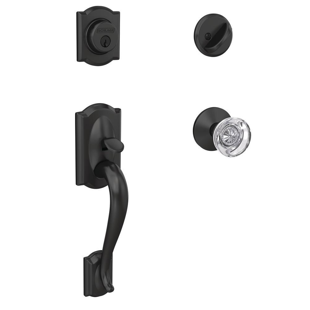 Custom Camelot Matte Black Single Cylinder Door Handleset with Hobson Glass Door Knob