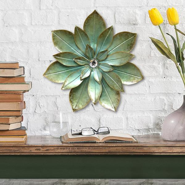 Stratton Home Decor Green Embellished Metal Flower Wall