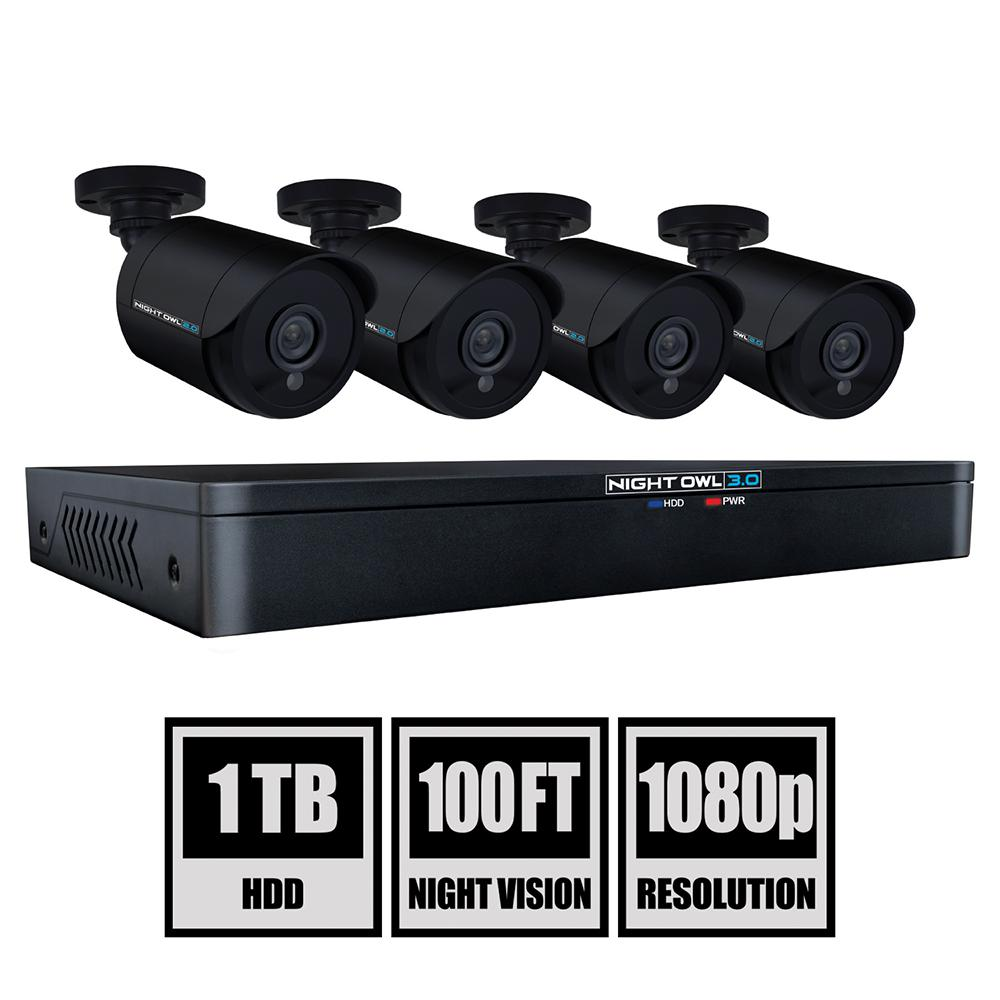 8-Channel 3MP 1TB DVR Security Camera System with 4 Wired 1080p