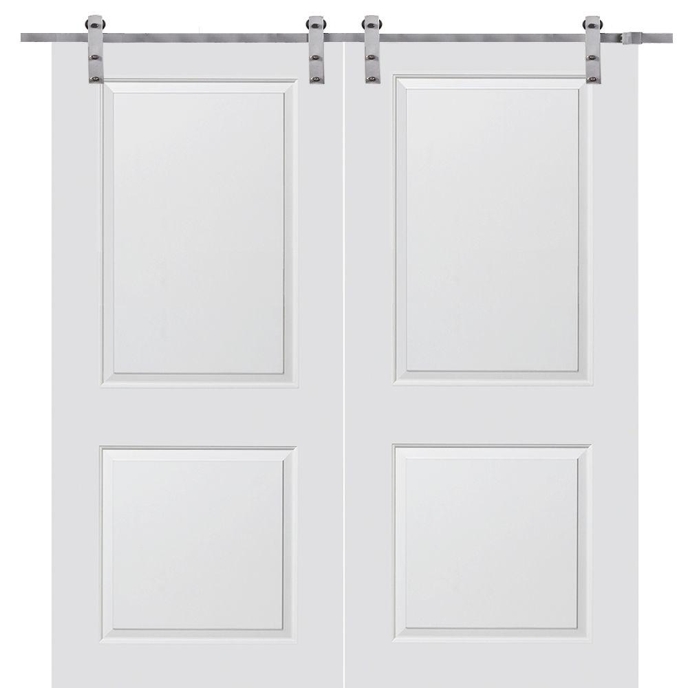 MMI Door 60 in. x 80 in. Primed Composite Cambridge Smooth Surface Solid Core Double Door with Barn Door Hardware Kit-Z009599 - The Home Depot