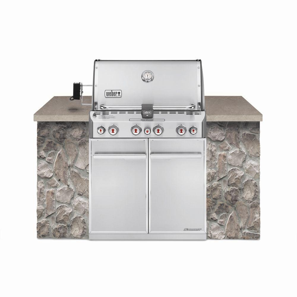 weber summit s-460 4-burner built-in propane gas grill in