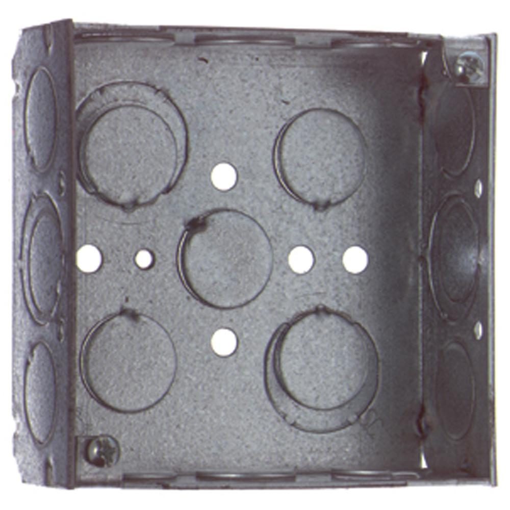 4 in. Square Metal Box - 1/2 in. and 3/4 in. Knockouts (Case of 50 ...