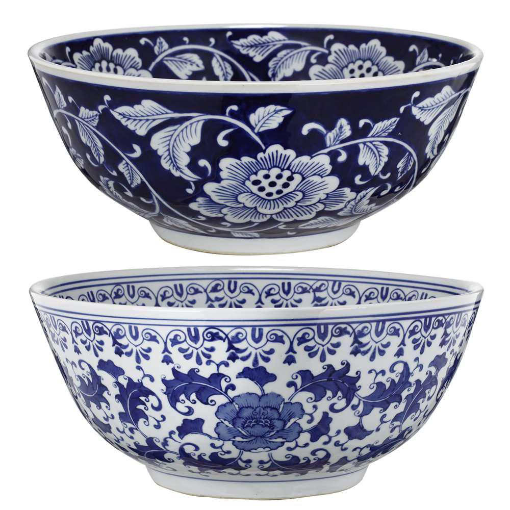 A & B Home 16 In. X 7 In. Blue And White Decorative Bowls