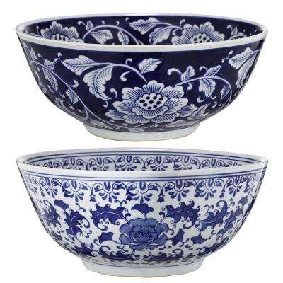 16 in. x 7 in. Blue and White Decorative Bowls (2-Pack)
