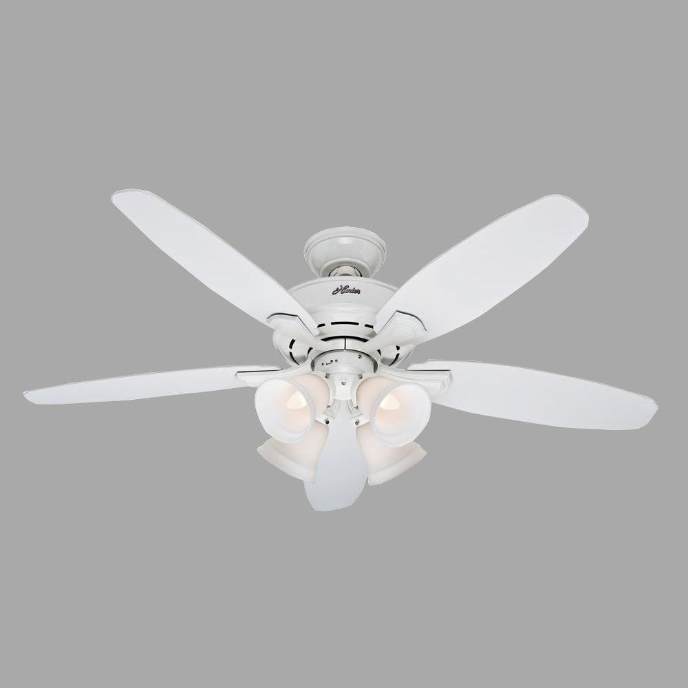 Hunter Landry 52 in. Indoor White Ceiling Fan with Light Kit-52077 on