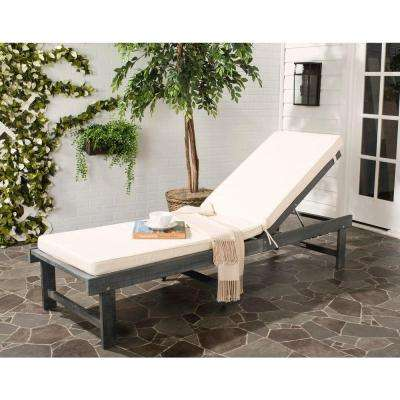 Inglewood Ash Grey 1-Piece All Weather Outdoor Chaise Lounge Chair with Beige Cushion