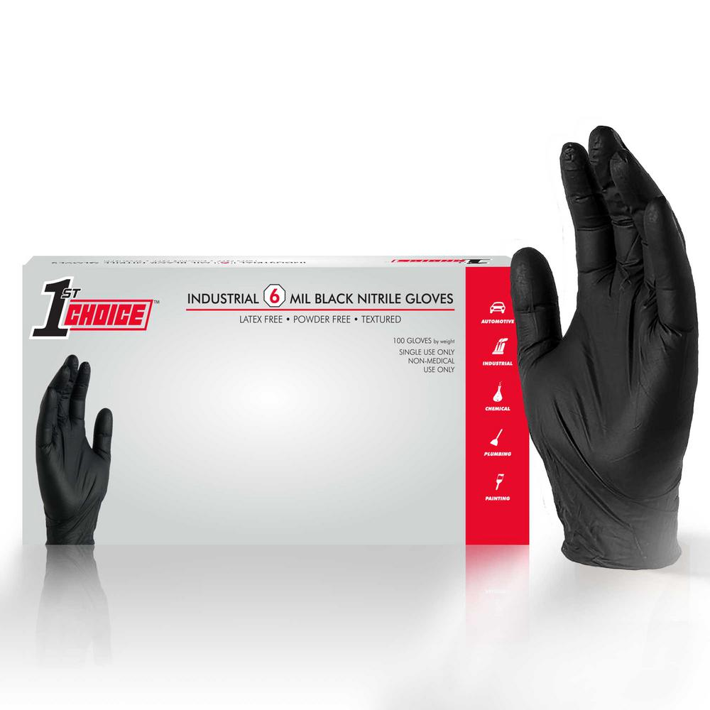 1st Choice Premium Black Nitrile Mechanic Powder-Free 6 Mil Disposable Gloves (100-Count) - Medium