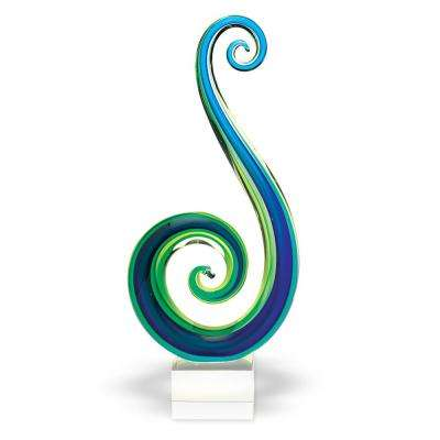 Marina Murano Style Blue/Green Abstract Centerpiece on Base 14 in. Tall