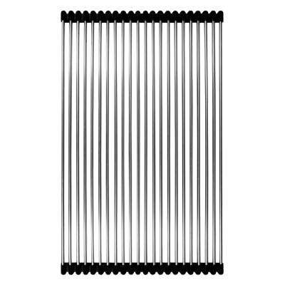 12-7/8 in. X 20-1/2 in. Rolling Grid for Kitchen Sinks in Stainless Steel and Black