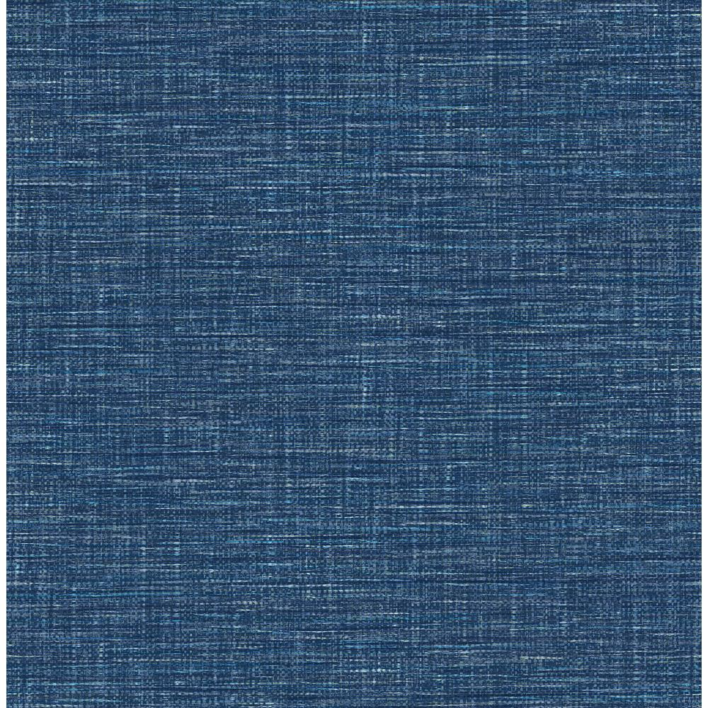 Your Questions About Grasscloth Wallpaper Answered: A-Street 56.4 Sq. Ft. Exhale Denim Faux Grasscloth
