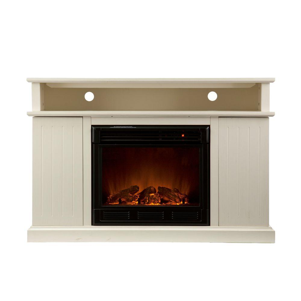 Southern Enterprises Kingsbury 48 in. Media Console Electric Fireplace in Ivory-DISCONTINUED