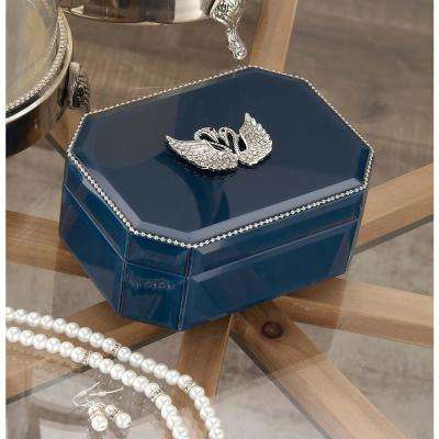6 in. x 3 in. Wooden Blue and Silver Swan Glass Box