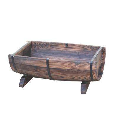 20 in. x 7.5 in. Brown Wooden Half Barrel Adjustable Deck Railing Planter
