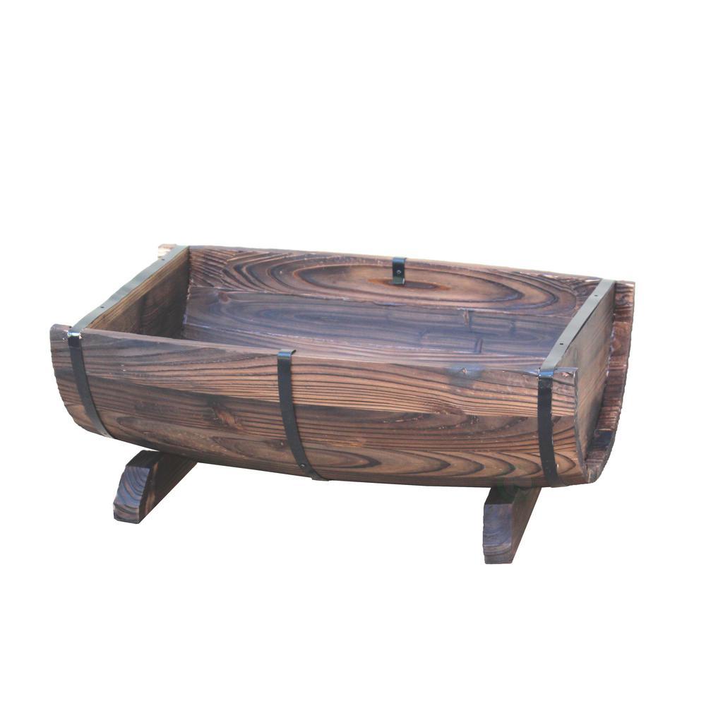 20 in. x 7.5 in. Brown Wooden Half Barrel Adjustable Deck Railing Planter
