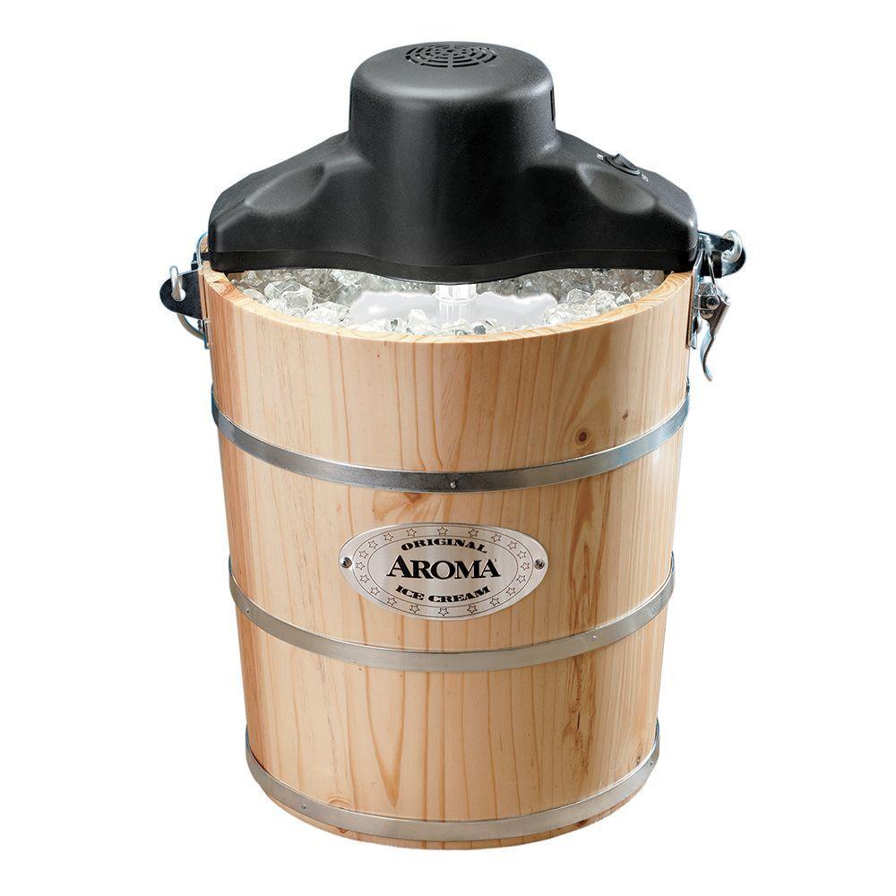 AROMA 4 qt. Wood Barrel Ice Cream Maker