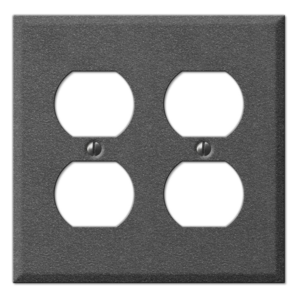 Creative Accents Antique 2 Duplex Wall Plate - Antique Pewter