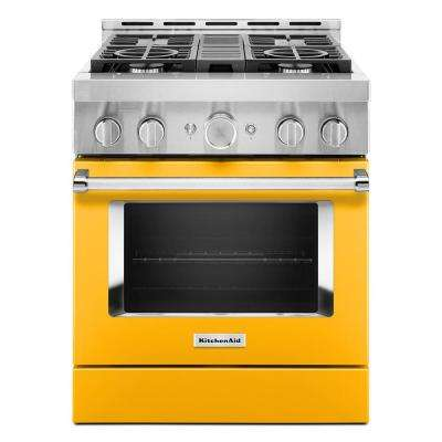 30 in. 4.1 cu. ft. Smart Commercial-Style Gas Range with Self-Cleaning and True Convection in Yellow Pepper