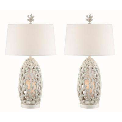31 in. Antique White Indoor Table Lamp Set