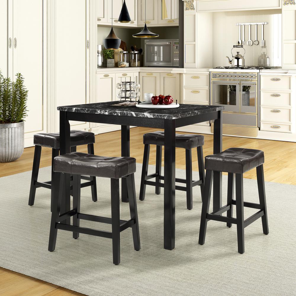 5-Piece Black Modern Square Upholstered Dining Set