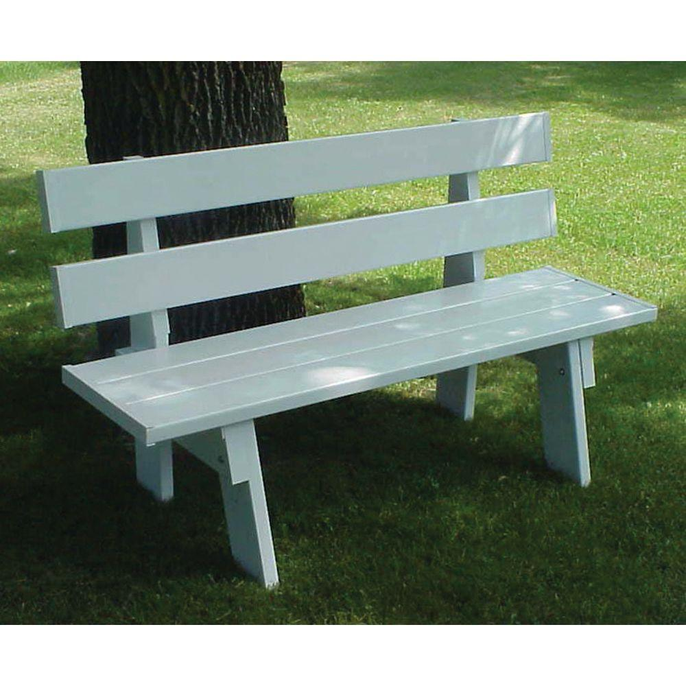 Terrific Dura Trel 60 In L X 17 In W X 16 In H White Vinyl Patio Park Bench Alphanode Cool Chair Designs And Ideas Alphanodeonline