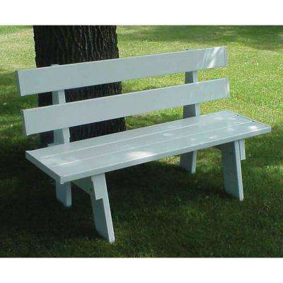 60 in. L x 17 in. W x 16 in. H White Vinyl Patio Park Bench