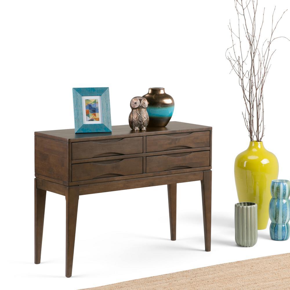 Simpli Home Harper Walnut Brown Console Table