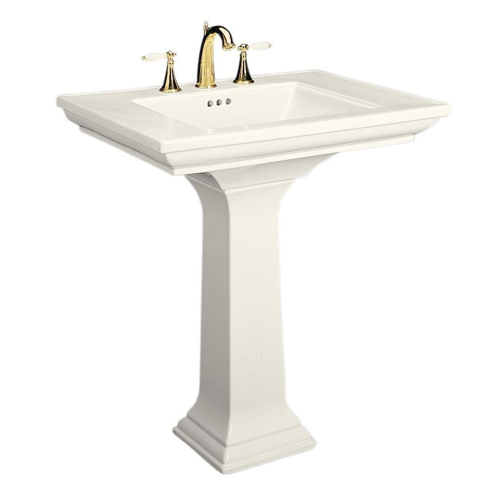 Memoirs Ceramic Pedestal Combo Bathroom Sink in Biscuit with Overflow Drain