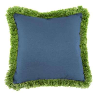 Sunbrella Canvas Sapphire Blue Square Outdoor Throw Pillow with Gingko Fringe