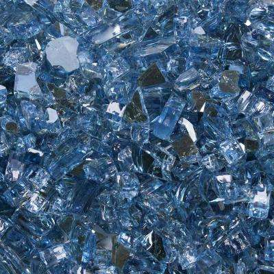 1/4 in. 10 lbs. Neptune Blue Reflective Tempered Fire Glass in Jar