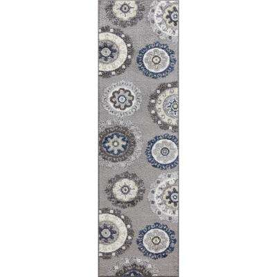 Charlotte Collection Oasis Gray 2 ft. x 7 ft. 3 in. Runner Rug