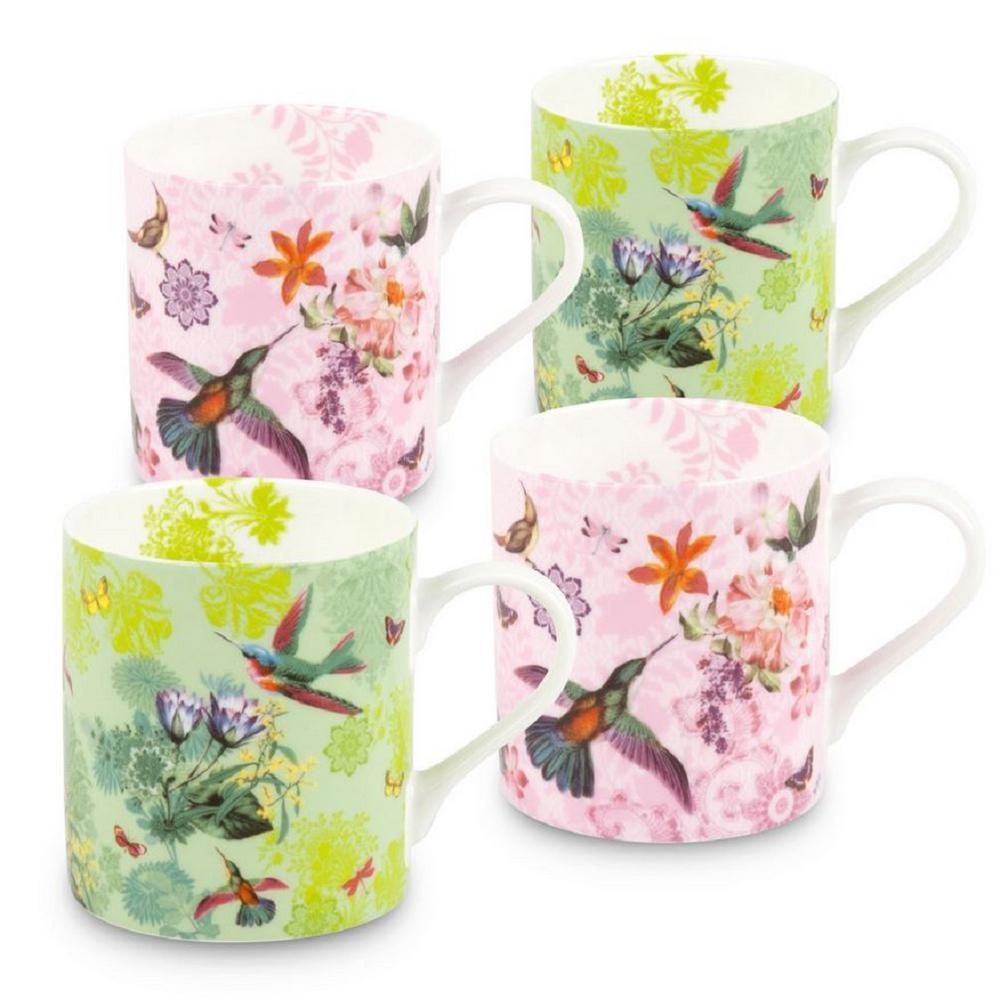 Konitz 4-Piece Flowers and Birds Bone China Mug Set
