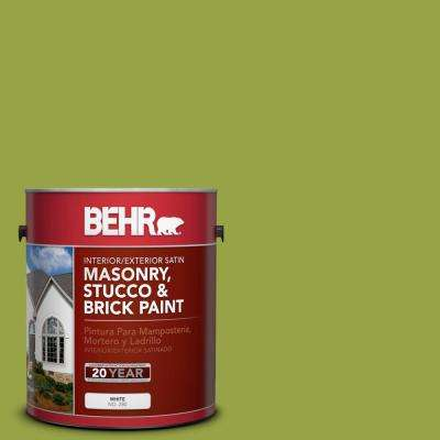 1 gal. #P360-6 Fresh Apple Satin Interior/Exterior Masonry, Stucco and Brick Paint