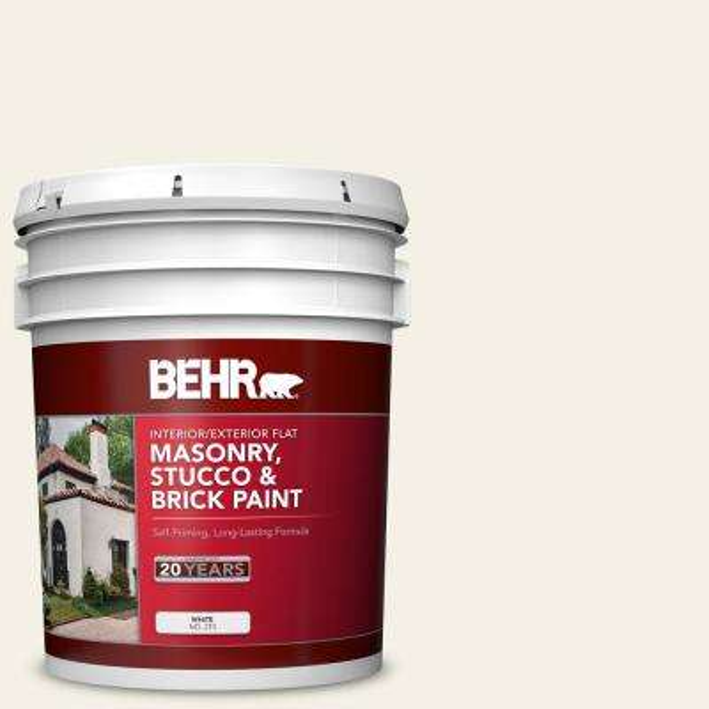 5 gal. #BWC-01 Simply White Flat Interior/Exterior Masonry, Stucco and Brick Paint
