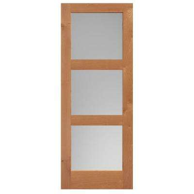40 in. x 84 in. Knotty Alder Veneer 3-Lite Equal Solid Wood Interior Barn Door Slab
