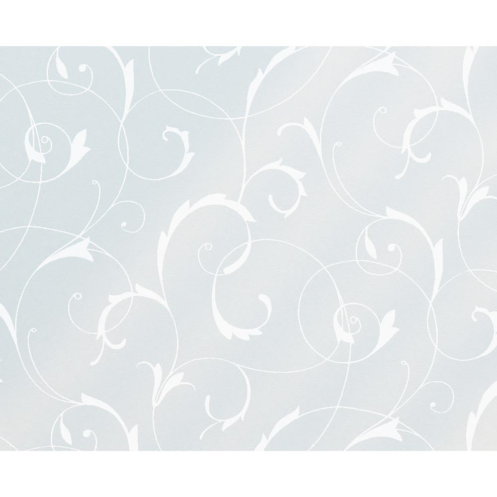 Fablon 35.43 in. x 59 in. Scroll Flower Static Window Film This elegant floral scroll static cling is a wonderful addition to any plain glass surface. Add a beautiful design to your shower screen, or create some privacy by applying to your bathroom window. Static cling window film is easy to apply and remove- simply cut to size, spray water on to the window, and squeegee into position. Just peel off when you want to change your design.