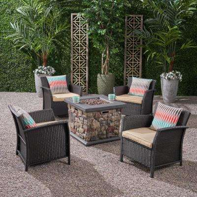 St. Lucia Brown 5-Piece Wicker Patio Fire Pit Conversation Set with Tan Cushions