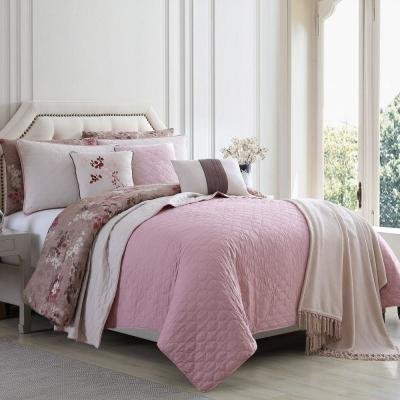 Andria Brown and Pink 10-Piece Queen Size Comforter and Coverlet Set