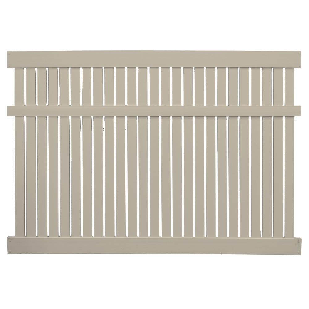 Huntington 6 ft. H x 6 ft. W Khaki Vinyl Semi-Privacy Fence Panel Kit