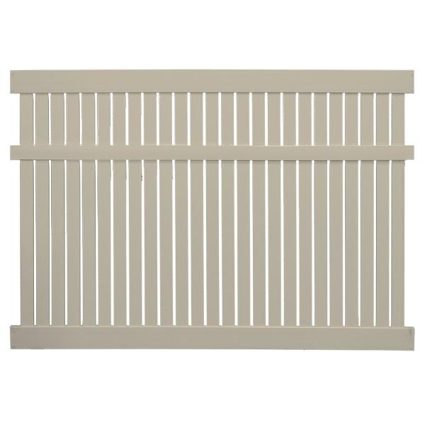 Huntington 6 ft. H x 6 ft. W Khaki Vinyl Semi-Privacy Fence Panel Kit